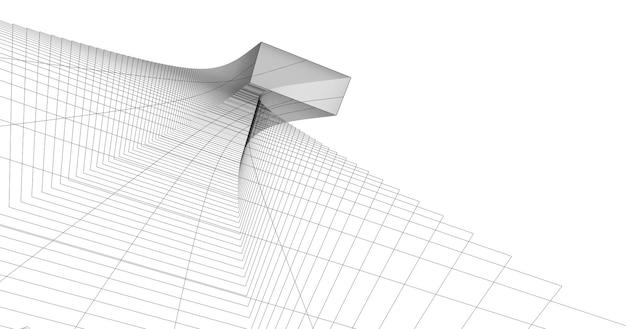 抽象的な3dワイヤーフレームアーキテクチャ Premium写真