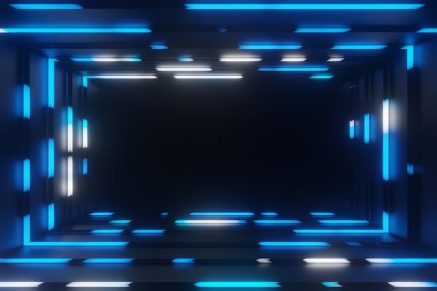 Абстрактная анимация неоновая синяя рамка туннель фон 3d-рендеринг Premium Фотографии