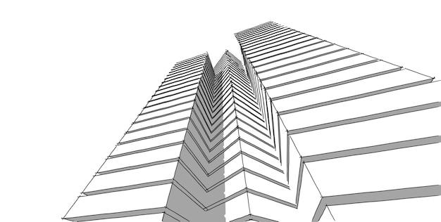 Абстрактный архитектурный рисунок Premium Фотографии