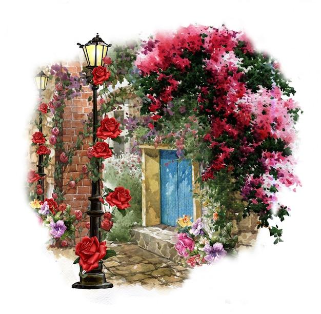 抽象芸術のカラフルな花の絵。春の色とりどりのイラスト Premium写真
