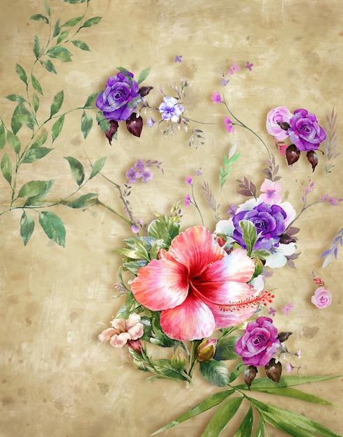 抽象芸術のカラフルな花の絵。春の色とりどり Premium写真