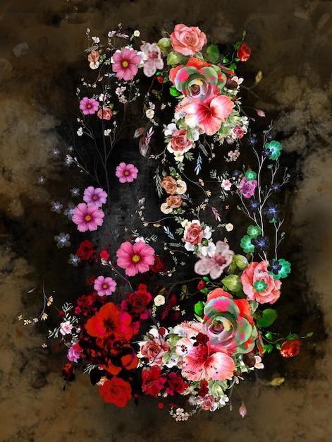 抽象芸術のカラフルな花の絵。 Premium写真
