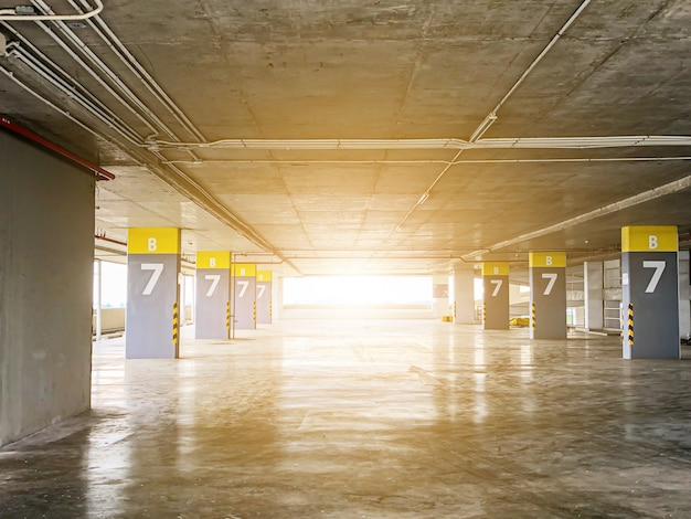 Abstract background in car park on building Premium Photo