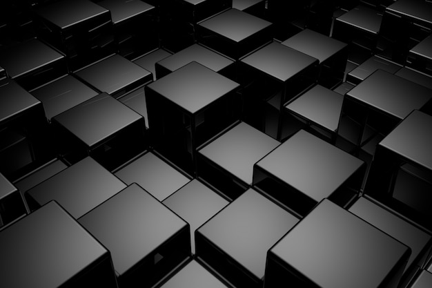 Abstract background of cubes. 3d rendering. Premium Photo
