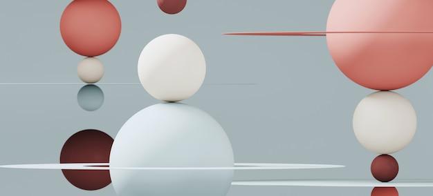 ブランディングと最小限のプレゼンテーションの抽象的な背景。赤と青の色の球と青の背景に円形の平面。 3 dレンダリング図。 Premium写真