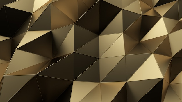 Abstract background of geometric gold surface. computer generated loop animation. modern background with polygonal shape. 3d illustration motion design for poster, cover, branding, banner. Premium Photo