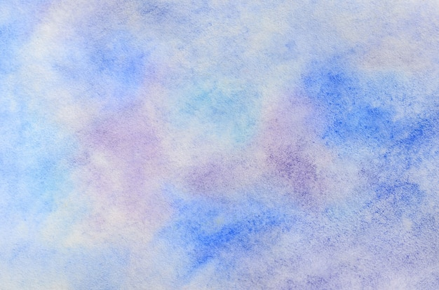 Abstract background illustration in the form of watercolor strokes and drops, executed in cold blue and purple tones Premium Photo