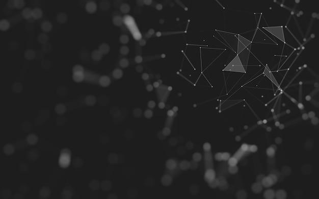 Абстрактный фон технология молекул с многоугольниками, соединяющими точки и линии. структура соединения. визуализация больших данных. Premium Фотографии