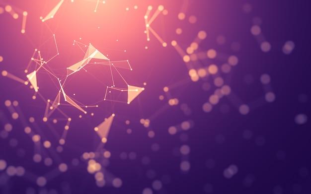 Абстрактный фон технология молекул с многоугольными формами, соединяющими точки и линии. Premium Фотографии