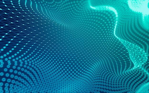 Абстрактный фон. технология молекул с многоугольными формами, соединяющими точки и линии. Premium Фотографии