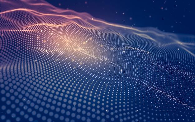 Абстрактный фон технология молекул с многоугольниками, соединяющими точки и линии Premium Фотографии
