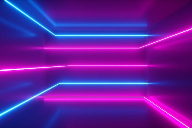 抽象的な背景、ネオン光線、室内の輝線、蛍光紫外光、青赤ピンクバイオレットスペクトル、3 dイラストレーション Premium写真
