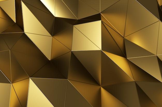 幾何学的な金の表面の抽象的な背景。コンピューターで生成されたループアニメーション。多角形のモダンな背景。ポスター、カバー、ブランディング、バナーの3 dイラストモーションデザイン。 Premium写真