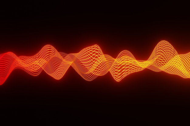 Abstract background orange audio wave heart beat 3d rendering Premium Photo