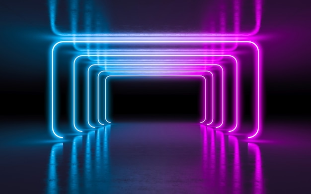Abstract background purple and blue neon glowing lights in empty dark room with reflection. Premium Photo