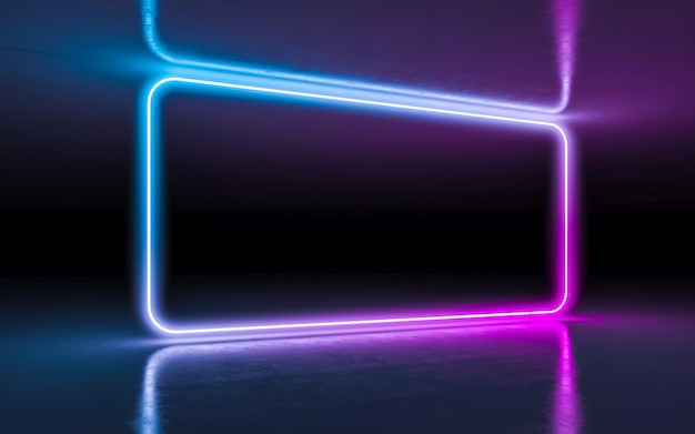 Abstract background purple and blue neon glowing lights in empty dark room with reflection Premium Photo