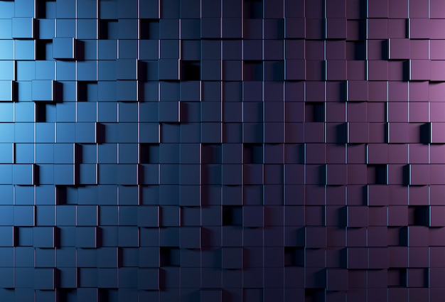 Abstract background wall with parametric cubic pattern Premium Photo
