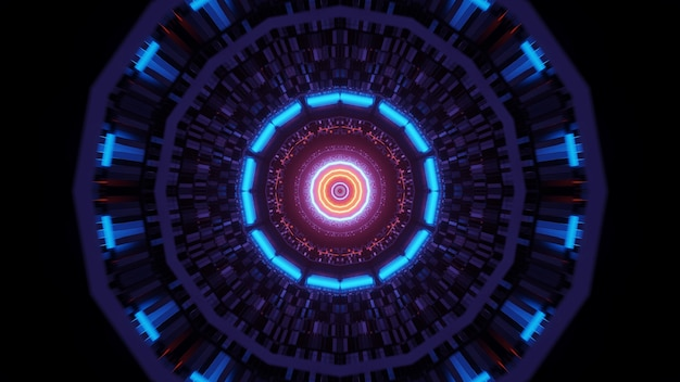Abstract background with circular colorful glowing neon lights, a 3d rendering wallpaper Free Photo