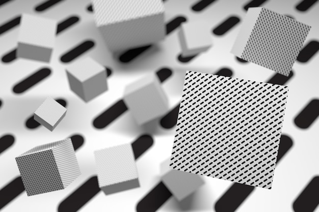 Abstract background with cubes in 3d space in black and white Premium Photo