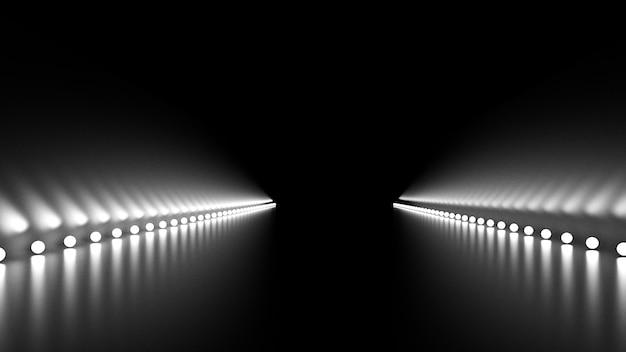 輝きと道路の抽象的な背景。 3dイラスト、3dレンダリング。 Premium写真