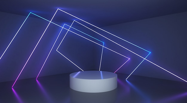 Abstract background with glowing light line Premium Photo