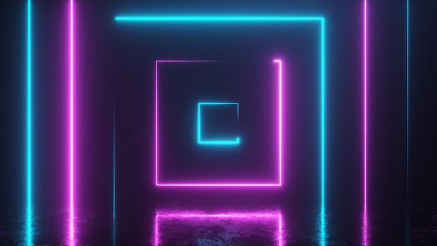 Абстрактный фон с неоновыми разноцветными квадратами Premium Фотографии