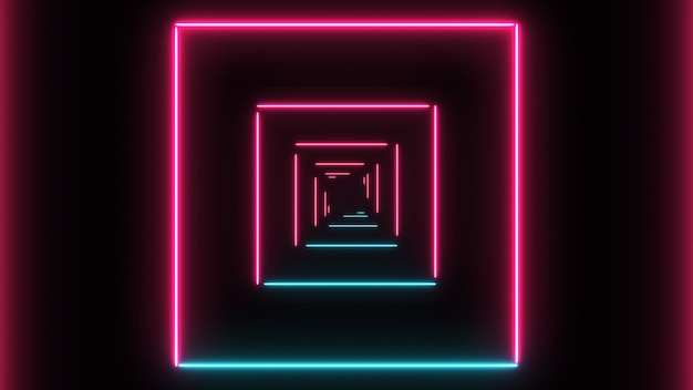 Abstract background with neon squares with light lines Premium Photo