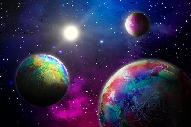 Абстрактный фон с планетами в космосе Premium Фотографии