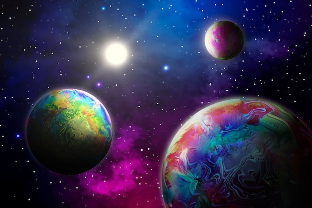Abstract background with planets in space Free Photo