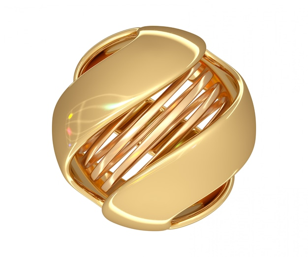 Abstract ball of gold color with a spiral in the center and color highlights on the surface. 3d render. Premium Photo