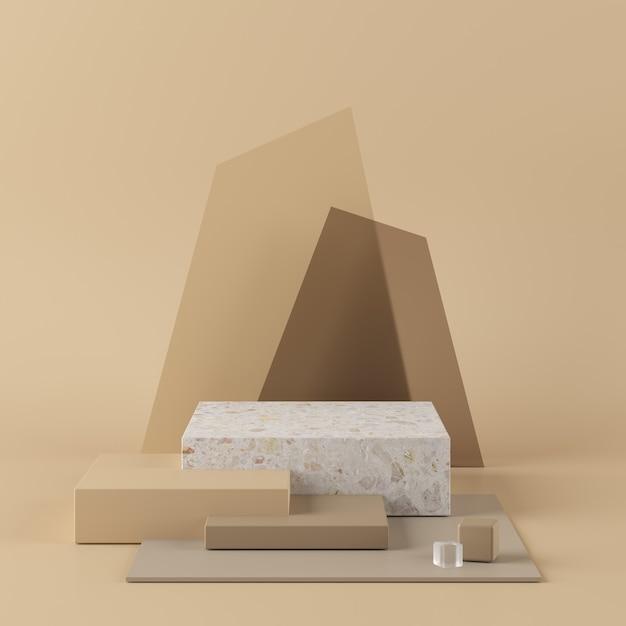 Абстрактная бежевая предпосылка с подиумом геометрической формы. 3d-рендеринг для продукта. Premium Фотографии