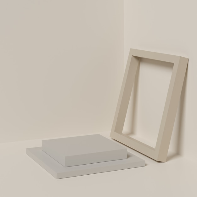 Abstract beige color background with beige color geometric shape podium for product. Premium Photo