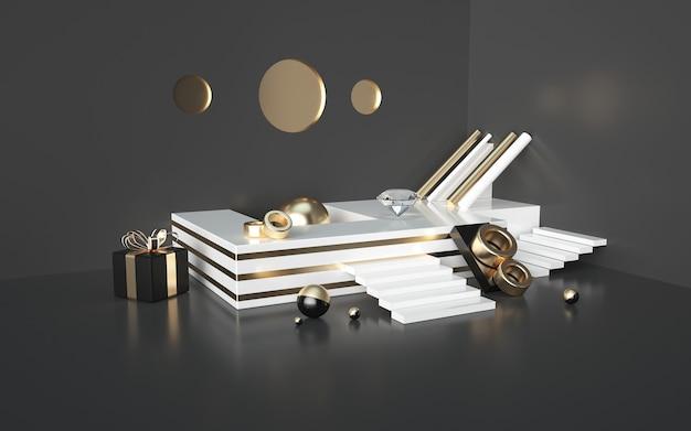 제품 표시를위한 골드 스트라이프 연단 및 선물 상자가있는 추상 검은 3d 렌더링 프리미엄 사진