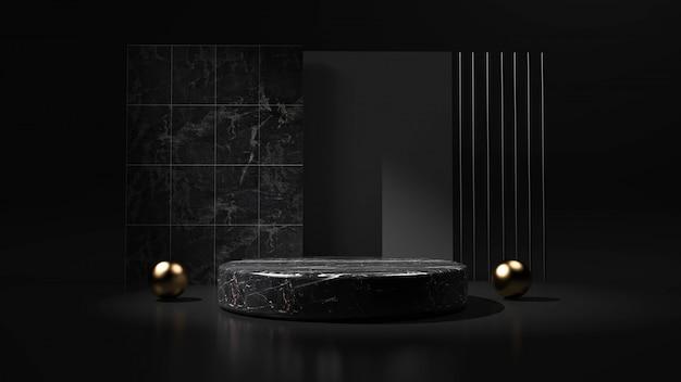 Абстрактная черная предпосылка с подиумом геометрической формы для продукта. 3d-рендеринг Premium Фотографии