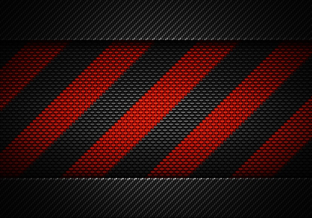Abstract black carbon textured material design with warning tape Premium Photo