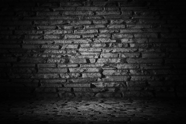 Abstract black cement brick with border black vignette backgroun Free Photo