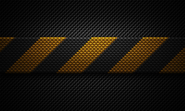 Abstract black perforated plate material design with warning tape Premium Photo
