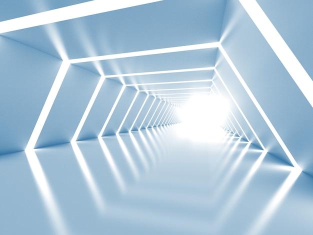 抽象的な青と白の輝くトンネルのインテリア Premium写真