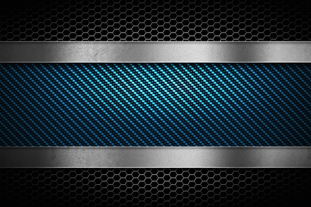 Abstract blue carbon fiber with grey perforated metal and polish metal plate Premium Photo