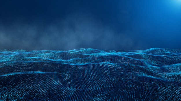 Abstract blue color digital particles and smoke background Premium Photo