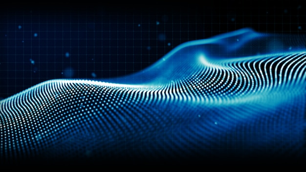 Abstract blue color digital particles wave background Premium Photo