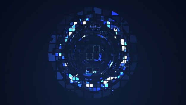 Abstract blue cyber circle digital technology graphic illustration Premium Photo