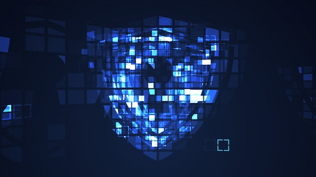 Abstract blue cyber digital technology graphic background Premium Photo