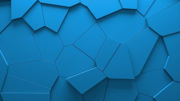 抽象的な青い押し出しボロノイブロックの背景。最小限の光できれいな企業の壁。 3d幾何学的な表面の図。多角形要素の変位。 無料写真