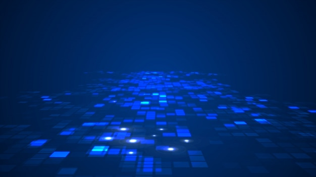 Abstract blue flashing rectangle grid flowing perspective background Premium Photo