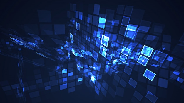 Abstract blue graphic flashing rectangle grid perspective background Premium Photo