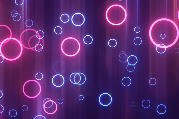Abstract blue and pink neon circles. glowing background Premium Photo
