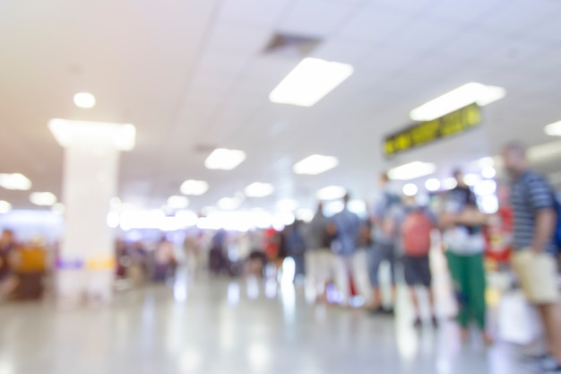 Abstract blur airport terminal and lounge interior for background Premium Photo