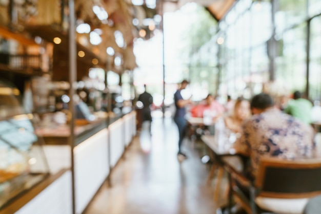 抽象的なぼかしとデフォーカスカフェレストラン Premium写真