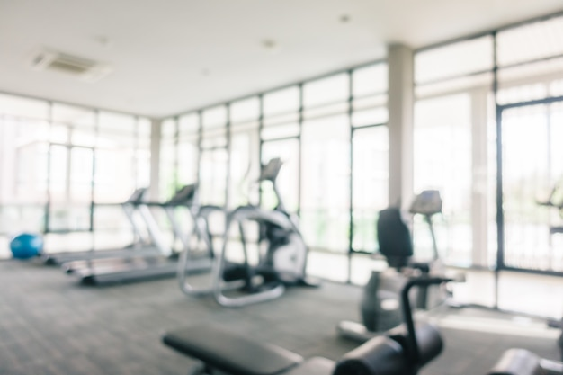 Abstract blur and defocused sport equipment in gym interior Free Photo